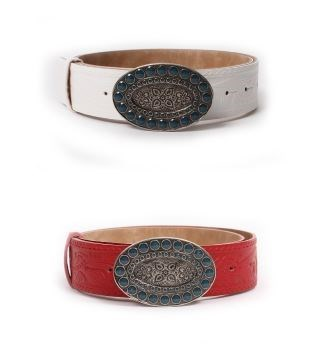 Belt with engraved buckle