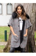 Plaid and fur cape