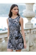 Dress with tweed and sequins
