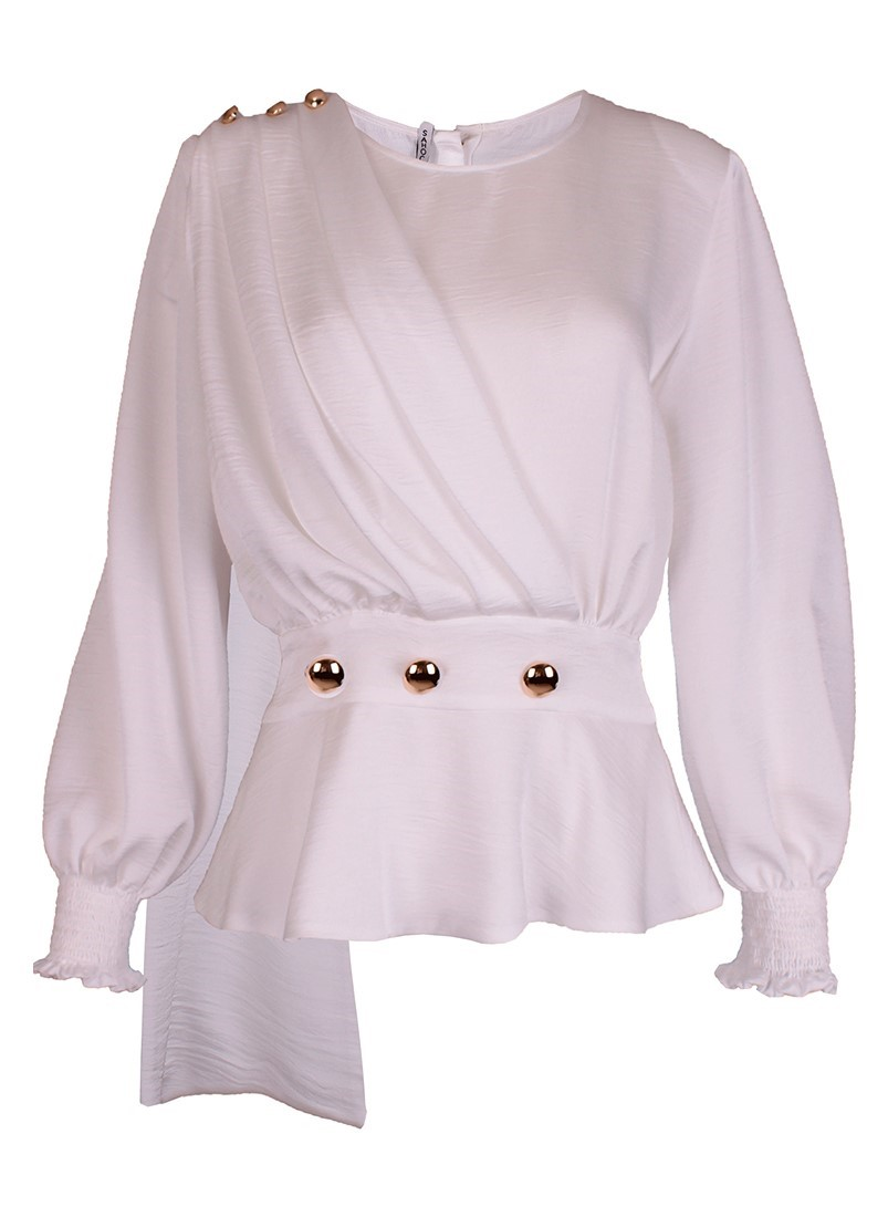 Wrap blouse with buttons