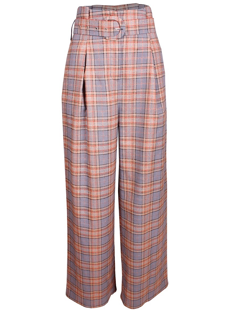 Checkered darted pants