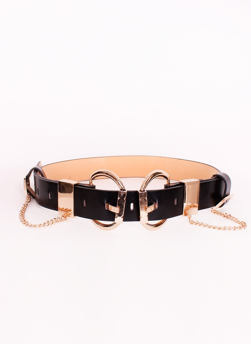 Double buckle belt with chain